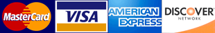 MasterCard, Visa, Discover, Amex logos