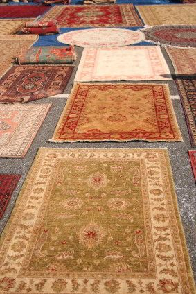 Oriental rugs on display.