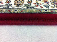 Carpet serging is yarn that is sewn on the edge to keep it from fraying.