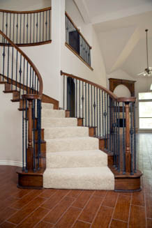 Solid color stair runner.