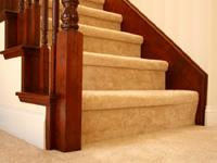 Stair carpet showing tailored steps.