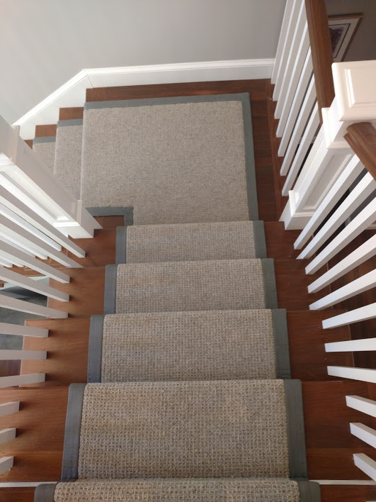 Wool carpet runner with wide binding.