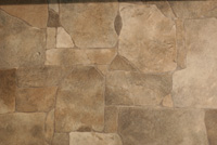 Vinyl flooring that looks like stone.
